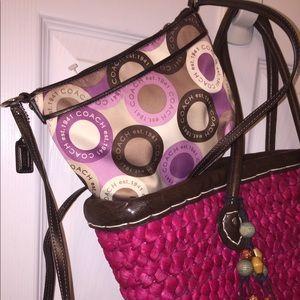 Coach 1941 Satin Brown & Pink Crossbody Bag